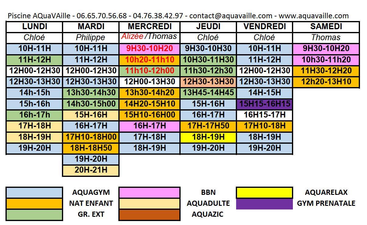 Planning hebdomadaire piscine aquavaille 2019 20 3