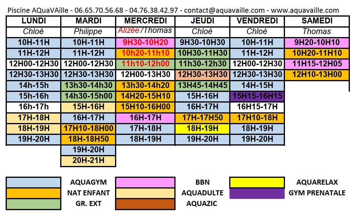 Planning hebdomadaire piscine aquavaille 2020 21 le bon 1 2